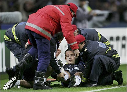 John Terry is stretchered off