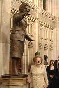 Lady Thatcher and statue