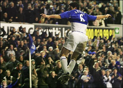 Arteta jumps for joy in front of the Everton faithful