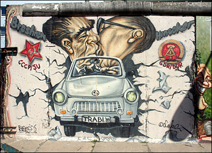 Trabant car painted onto the Berlin wall