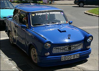 A blue Trabant