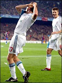 Craig Bellamy celebrates his goal