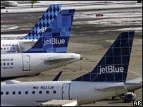 JetBlue plane tail fins