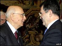 Giorgio Napolitano and Romano Prodi