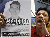Youth leader protests over the killing of student leader Farly Alcantara II in southern Philippines on 15 February 2007