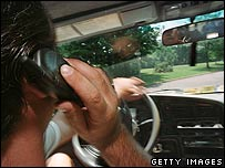 Man using mobile phone in car