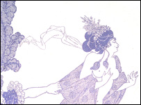 Aubrey Beardsley's Cinesias Entreating Myrrhina to Coition from Lysistrata, V&A