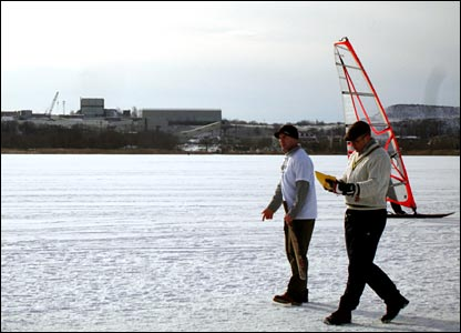 Choosing a spot for the wicket on a frozen Lake Harku