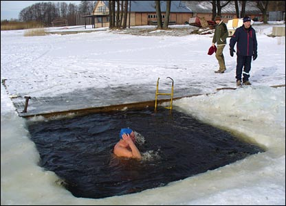 A traditional Estonian ice bath on Lake Harku.