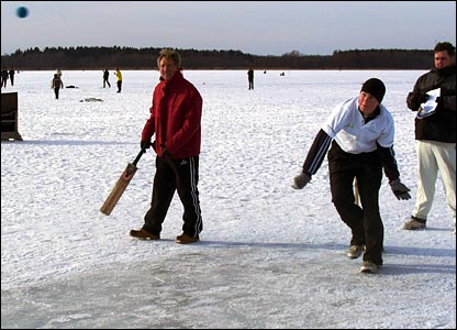 Bowling on ice in Estonia.