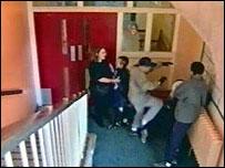 scuffle in corridor in PRU