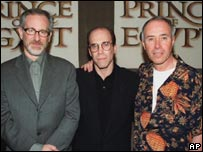 Geffen with co-Dreamworks founders, Steven Spielberg and Jeffery Katzenberg