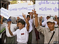 Street protests in Rangoon, Burma