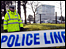 Police at the offices of the DVLA