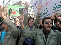 Demonstration outside British embassy in Tehran