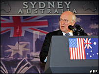 Mr Cheney gives a speech in Sydney