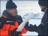 Malcolm Wicks (left) examining an ice core sample (Image: DTI)