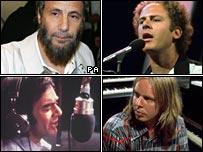 Clockwise from top left: Cat Stevens, Art Garfunkel, Rick Wakeman and Neil Diamond