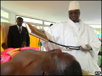 President Jammeh prays over one of his patients