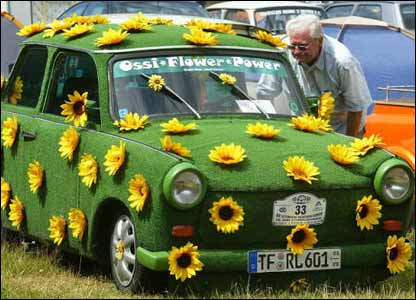 Flower-covered Trabant