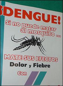 Póster advirtiendo sobre los peligros del dengue