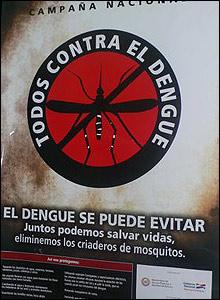 Poster advirtiendo sobre el dengue