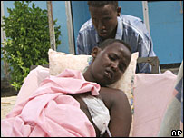 A Mogadishu civilian wounded by a mortar attack within the last two months