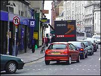 Traffic in Cardiff city centre