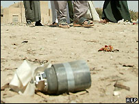 Cluster bomb bomblet in Iraq - file photo