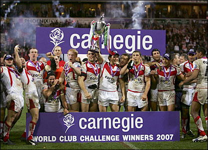 St Helens celebrate their victory