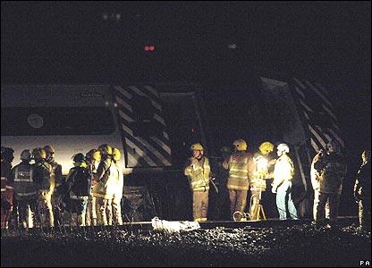 Emergency crews at crash scene