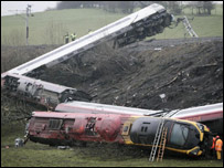 The wreckage of the train