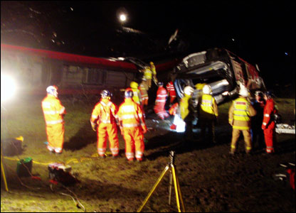 Emergency teams at train crash