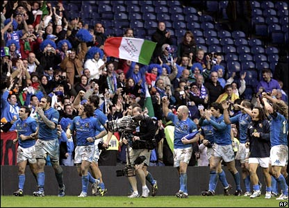 Italy celebrate their win at Murrayfield