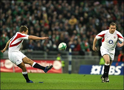 England's Jonny Wilkinson kicks a penalty