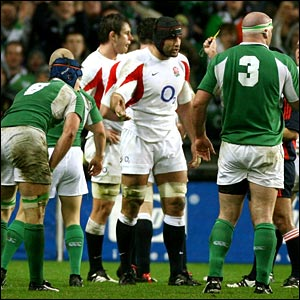 England's Danny Grewcock is shown a yellow card