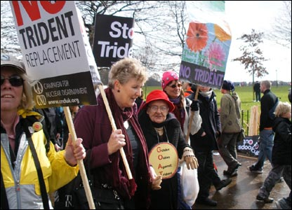 Protesters were also campaigning against the Trident nuclear missile system. Picture by Paul Bailey
