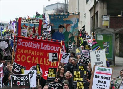 Around 2,000 people joined the march in Glasgow. Photo by Des Loughney