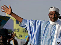 President Abdoulaye Wade at a rally in Dakar on 23 February
