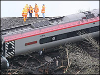 Workers at the train crash site