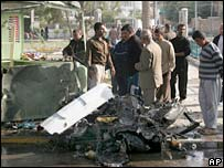 The scene of a car bomb blast in central Baghdad