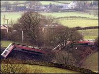 The wrecked train in Cumbria