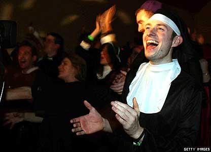 Man dressed as nun