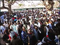 Voters queuing in Senegal