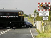 Staged train crash