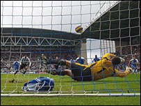 Wigan's John Filan saves Nolberto Solano's penalty