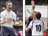 Robbie Keane celebrates and is then sent off