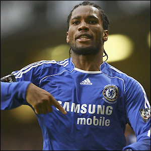 Drogba celebrates his second goal