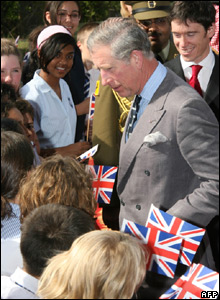 Prince Charles with school children in Bahrain