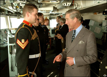 Prince Charles on board a Royal Navy frigate in Bahrain